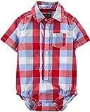 Osh Kosh Baby Boys Short-Sleeve Woven Bodysuit, Red Blue Plaid, 18 Months