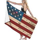 Strandtuch, Retro-Amerika-Flagge, Badetuch, schnell trocknend, saugfähig, Mikrofaser, Decke für Bad, Reisen, Schwimmen, übergroße Stranddecke, 78,9 x 139,9 cm
