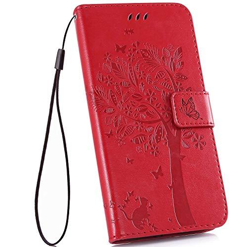 Ysimee Coque LG V40 ThinQ, Gaufrage Chat et Arbre Étui Portefeuille en Cuir Housse de Protection pour LG V40 ThinQ à Rabat Livre Coque avec Fermeture Aimantée Porte-Cartes Fonction Support,Rouge