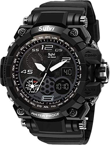 VILAM Youth Outdoor Sports Fashion Casual Multi-Function LED Back Light Waterproof Analog Digital Black Dial Men's Watch (Made in India)