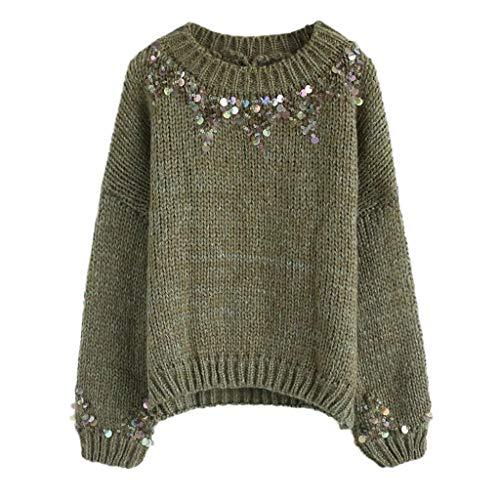 GreatestPAK Damen Pullover Rundhalsausschnitt handgefertigte Perlen Pailletten Lange Ärmel T-Shirts Lose Oberteile Strickwaren Bluse