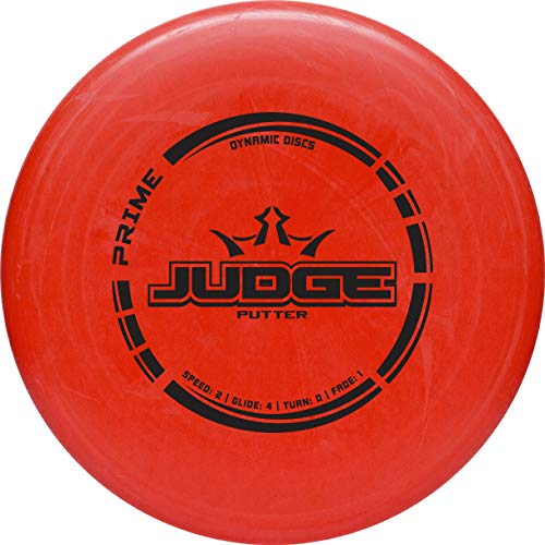 Dynamic Discs Prime Judge Disc Golf Putter | Red | 170g Plus | Throwing Frisbee Golf Putter | Great Off of The Tee Box | Stable Disc Golf Flight | Beaded Disc Golf Putter | Stamp Color Will Vary