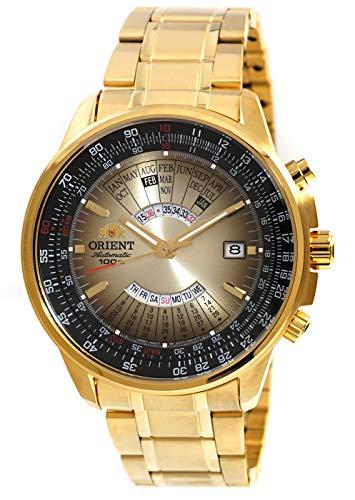 Orient Sport Automatik Mehrjahreskalender Gold Stahl Uhr EU07004U