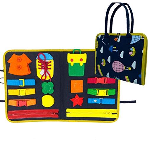 Beschäftigtes Board Montessori-Spielzeug , frühkindliche Sensory Board-Tasche, grundlegende motorische Fähigkeiten und das Erlernen des Anziehens, pädagogisches Lernspielzeug für 1 2 3 4-Jährige