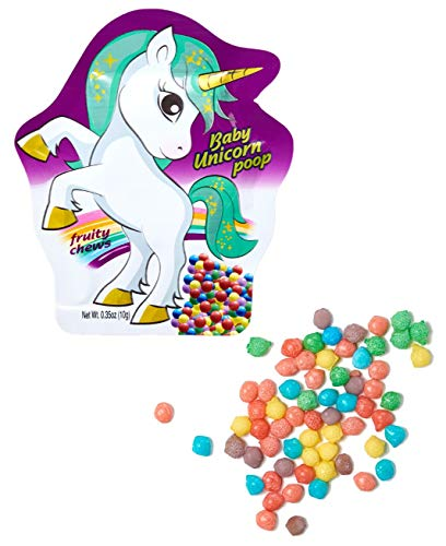 Baby Unicorn Poop Candy Mini Fruit Chews, Bulk 24 Pack Unicorn Party Favors Candy Bags, Party Candy, Rainbow Candy, Unicorn Candy, Party Favor Snacks, Unicorn goodies By Cartwheel Confections