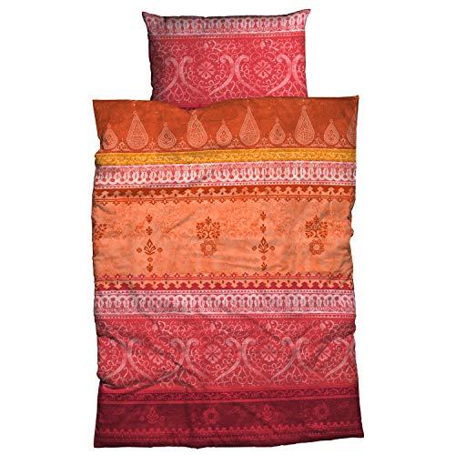 Casatex Bettwäsche Indi Satin orange-rot Größe 135x200 cm (80x80 cm)