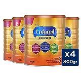 Enfamil Premium Complete 3 - Preparado Lácteo Infantil de Crecimiento Para Lactantes Niños de 1 a 3 años - Pack mensual de 4 latas x 800 gr