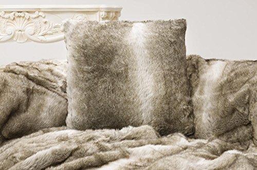 Felldecken Wohnen und Accessoires Fellkissen 45x45 Bär grau & beige Melange aus Webpelz