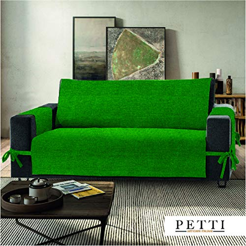PETTI Artigiani Italiani - Copridivano, Verde, Copridivano 2 posti, Salvadivano, Con Elastici e Tasche Laterali, 100% Made in Italy