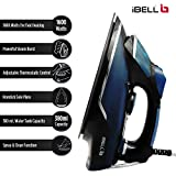 iBELL 1600 Watt Steam Iron Box with Adjustable Thermostatic Control,Water Spray,High Grade Sole Plate(Blue)