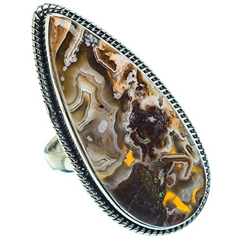 Ana Silver Co Large Laguna Lace Agate Ring Size N (925 Sterling Silver)