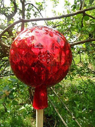 Arbrikadrex Spitzkugel farbechtes Glas Tropfenkugel Gartenkugel verspiegelt XXL Form Rosenkugel (Kugel Rautendesign, Rot)