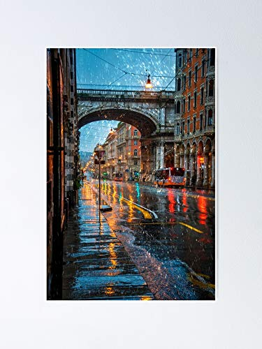 """Genoa in The Rain Poster 12.75"""" X 17"""" Inch No Frame Board for Office Decor, Best Gift Dad Mom Grandmother and Your Friends"""
