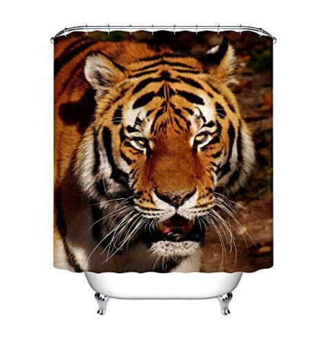ZZZdz Wilder Tiger. Douchegordijn. 180 x 180 cm. 12 vrije haken. meubeldecoratie. 3D Hd-druk. Badkameraccessoires. Achtergrond.