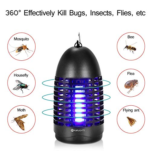 YUNLIGHTS Bug Zapper 8w Electric Fly Killer Fly Traps Mosquito Zapper Plugin with Hook Hanging Standing UV Light Mosquito Killer Lamp Indoor Flying Insect Trap for Indoor Use UpgradedBlack