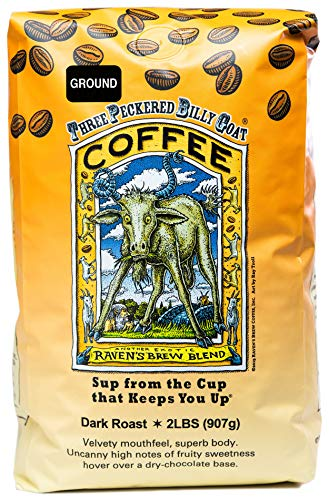 Raven's Brew Coffee Ground Three Peckered Billy Goat – Dark Roast – Breakfast Coffee Bliss with an Instant Caffeine Supercharge – Delicious as Espresso – 2lb Bag