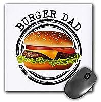 3dRose Mouse Pad Burger Dad Cool Hamburger Cheeseburger Sandwich Barbecue BBQ Food - 8 by 8-Inches (mp_284232_1) [並行輸入品]