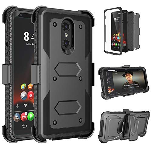 Tinysaturn Compatible with LG Stylo 4 /Q Stylus/Styus 4/Stylo 4 Plus Case Holster Protective [Built-in Screen Protector] Heavy Duty Shockproof Belt Clip Holster with Kickstand Rugged Cover- Black