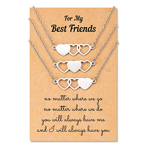 KINGSIN Best Friend Necklaces for 3 Bff Friendship Matching Heart Necklace Jewelry Gifts for Women Teen Girls Sister