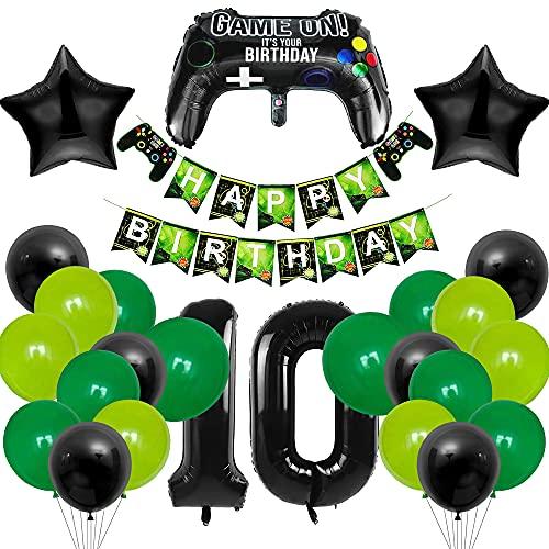 MMTX 10 Compleanno Decorazioni, Palloncino Numero 10, Kit di Forniture per Feste di Compleanno per Gli Appassionati di Giochi, 10 Anni Anniversario Decorazioni Festa Compleanno Ragazz