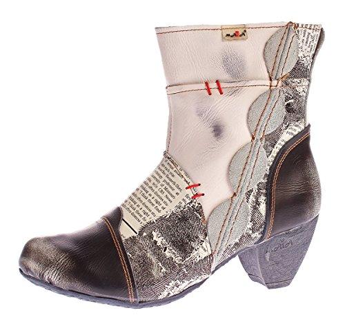 TMA Damen Stiefeletten 8911 echt Leder Stiefel Muster variieren Comfort Schuhe Boots Weiß Creme Gr. 39