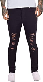 Island Trading Mens Skinny Jeans Rips Frayed Knee Ripped Distressed Stretch Denim Black White