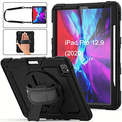 iPad Pro 12.9 Case 2020 with Screen Protector Pencil Holder   Herize Full Body Shockproof Rugged Protective Durable Rubber Case w/360 Rotating Stand & Strap for iPad Pro 12.9 inch 4th Generation