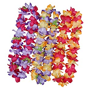 4Pcs Tropical Hawaiian Leis Necklace Luau White Hawaii Silk Flower with Leaf for Summer Beach Vacation Birthday Wedding Party Favors Supplies