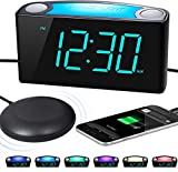 Extra Loud Alarm Clock with Bed Shaker, Vibrating Alarm Clock for Heavy Sleepers Deaf Hearing Impaired, 7' Large Display, Dual USB Charger, 7 Color Night Light, Dimmer, Snooze & Battery Backup