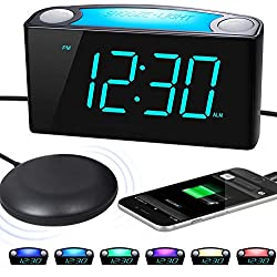Extra Loud Alarm Clock with Bed Shaker, Vibrating Alarm Clock for Heavy Sleepers Deaf Hearing Impaired, 7 Large Display, Dual USB Charger, 7 Color Night Light, Dimmer, Snooze & Battery Backup