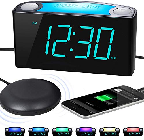 """Extra Loud Alarm Clock with Bed Shaker, Vibrating Alarm Clock for Heavy Sleepers Deaf Hearing Impaired, 7"""" Large Display, Dual USB Charger, 7 Color Night Light, Dimmer, Snooze & Battery Backup"""