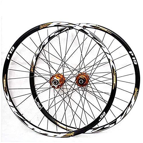 HJRD Mountainbike-Laufradsatz, 29/26/27.5 Zoll Fahrrad Laufrad (vorne + hinten) Doppelwandig Aluminiumlegierung MTB-Felge Schnelle Veröffentlichung Scheibenbremse 32H 7-11 Geschwindigkeit