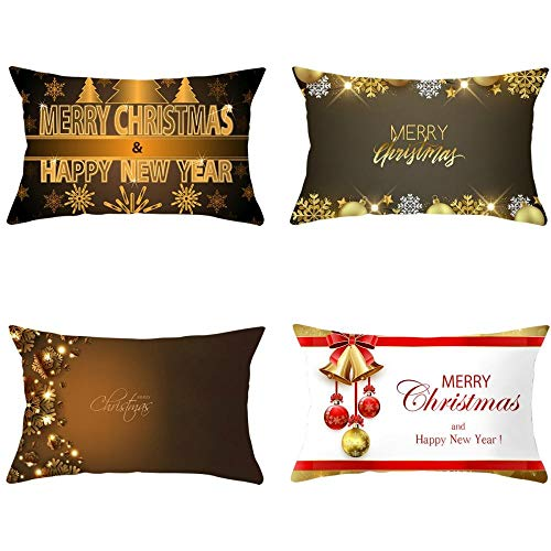 NLNL 4-piece Set 2020 New Christmas Linen Waist Pillowcase Golden Series Sofa Cushion Pillowcase Bedside Pillowcase-Style:9