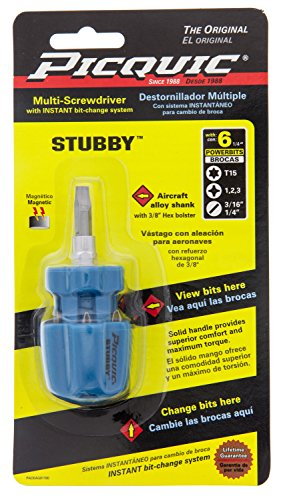 Picquic Stubby Multi-bit Screwdriver Colors Vary -  PICQUIC TOOL CO INC, 91100