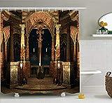 N/A Gothic Duschvorhang, dunkel mystische antike Halle mit Säulen & Kuppelschreinerbau-Illustration, Stoff Badezimmer-Dekorationsset mit Haken, elfenbeinfarben, Schwarz, 152 x 183 cm