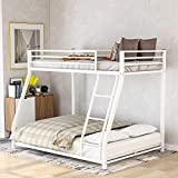 Metal Floor Bunk Bed with Flat Ladder and Guardrail, Twin Over Full, White