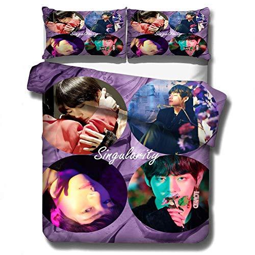 HughFan 2 Stck Kpop Bettwsche Set, Bangtan Boys Polyester Bettbezug, 1x Bettbezge, 1x Kissenbezug(135x200cm H01)