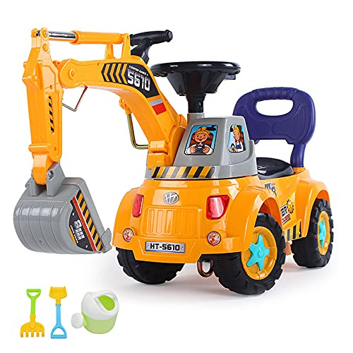 Fisca Push Ride On Excavator for Kids, Foot-Power Sliding Digger Excavator Scooter Car Learning to Walk, Push Around Low Seat Ride-on Toy with Light & Sound for Boys and Girls Age 3 - 5