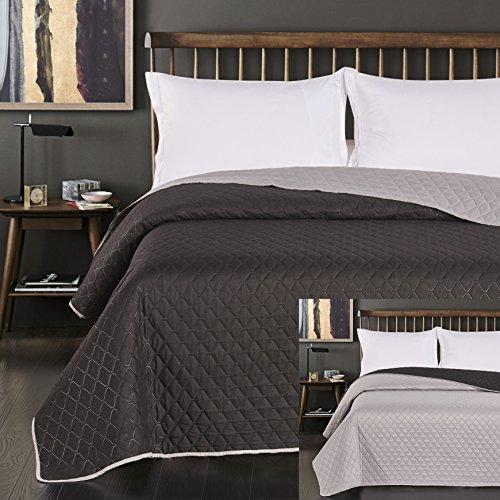 DecoKing 45794 Tagesdecke 170 x 210 cm schwarz Stahl Silber anthrazit grau Bettüberwurf zweiseitig Steppung Black Silver Paul