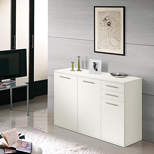 Valentini Nettuno Mobile 3 Ante e 2 Cassetti, Legno, Bianco, 36 x 120 x 82 cm