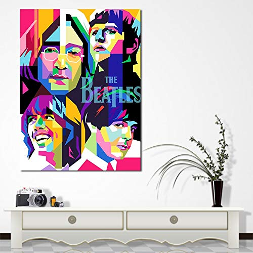ganlanshu Moderne abstrakte Rockband Sänger Kunst Leinwand Dekoration Kunstplakat Wohnzimmer Dekoration,Rahmenlose Malerei,45x67cm