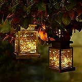 Farol Solar Exterior, Linterna Solar Exterior Jardín, 2pcs LED Luz Colgante Solar del Jardín, Lámpara Farolillo Solar, Luces de Metal de Jardín Decorativas para Camping Terraza Patio Navidad