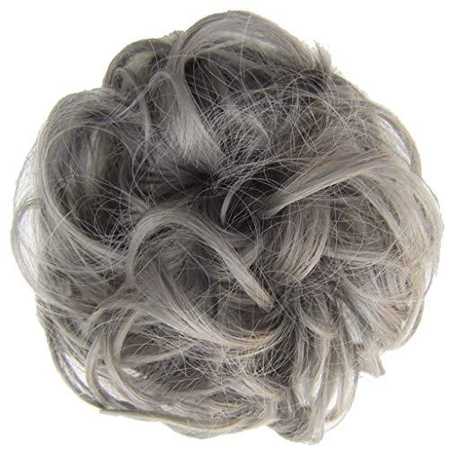 HULKY Haarteil Dutt Haargummi mit Haaren Glatt struppige Haarknoten Hochsteckfrisuren günstig Haarverlängerung für Damen Brautfrisuren Voluminös Mehrfarbig(E)