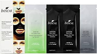 boscia Multi-Masking Medley - Natural Japanese Green Tea Mask for Oil-Control, Activated Black Charcoal Mask for Skin Detox, and Sake Bright White Mask for Hydrated and Bright Skin, 4 x 10g