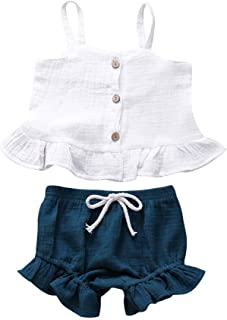 Weixinbuy Kids Baby Girls Strap Sleeveless Tops T-Shirt + Bloomer Shorts 2Pcs Summer Clothes Set
