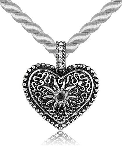 Kordel Halskette Mina mit Herz und Strass - Silber