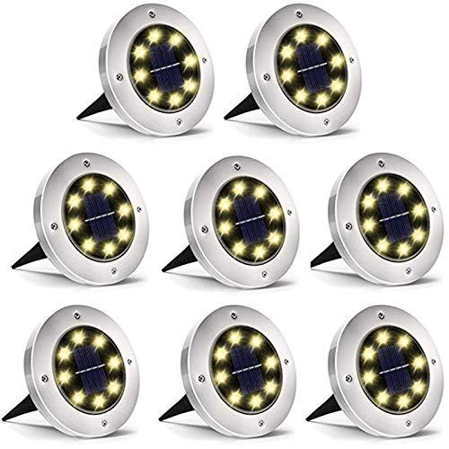 Solarlampen für Außen - COSMOERY 8 Stk. Solarleuchten Solarlicht Solar Garten Licht Bodenleuchte Gartenleuchten Wasserdichte LED Einbaustrahler Bodenleuchte für Garten, Außen - Warmweiß