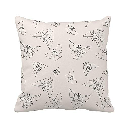 N\A Throw Pillow Cover Geométrico Línea Delgada Mariposa Origami Patrón de tradición Japonesa Funda de Almohada Moderna Funda de Almohada Cuadrada Decorativa para el hogar Funda de cojín