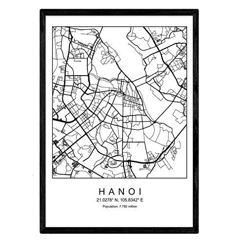Blade Hanoi Stadtkarte nordischen Stil schwarz & weiß. A3 Größe Plakat Das bedruckte Papier Keine 250 gr. Gemälde, Drucke & Poster für Wohnzimmer & Schlafzimmer