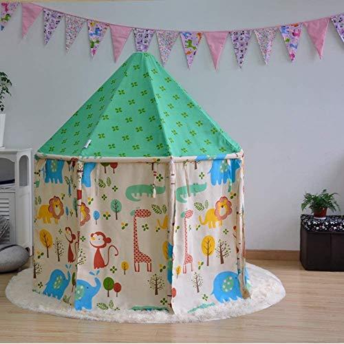 FEE-ZC Carpa de Castillo de Princesa Verde para niñas de Dibujos Animados, portátil, Lona de algodón, yurta Redonda, Tienda Tipi, Interior, Exterior, jardín, casa de Juegos Grande,